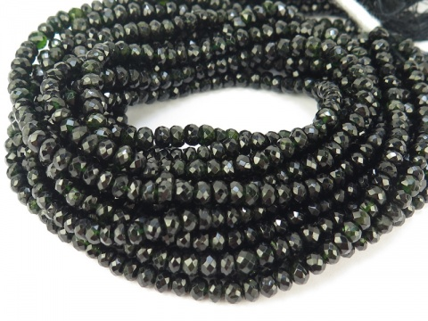 Black Tourmaline Faceted Rondelles ~ Various Sizes ~ 14'' Strand