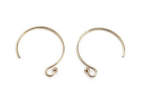 Gold Filled Ball End Circle Ear Wire ~ PAIR