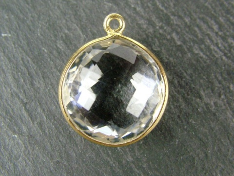 Gold Vermeil Crystal Quartz Round Pendant 14mm
