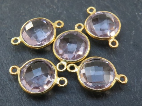 Gold Vermeil Pink Amethyst Coin Connector 17mm