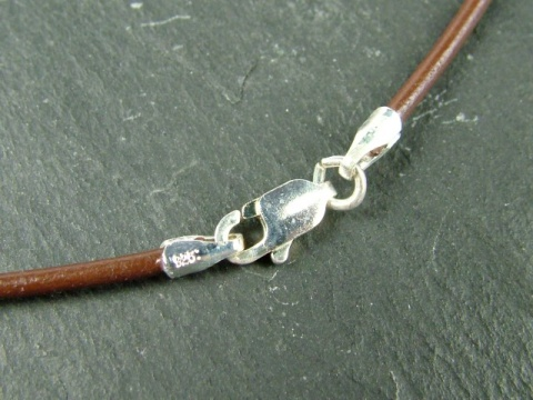 Brown Leather (1.5mm) Necklace with Sterling Silver Trigger Clasp ~ 16''