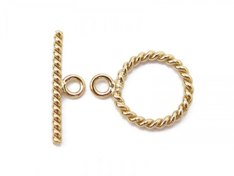 Gold Filled Twisted Toggle and Bar Fastener 11mm