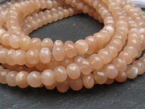 AA+ Peach Moonstone Micro-Faceted Rondelles ~ Various Sizes ~ 8'' Strand