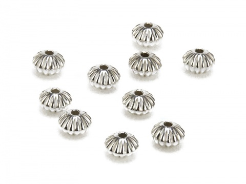 Sterling Silver Corrugated Saucer Bead 4.5mm ~ Pack of 10
