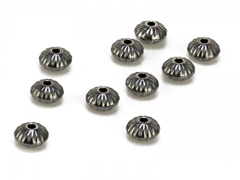 Sterling Silver Oxidised Corrugated Saucer Bead 4.5mm ~ Pack of 10