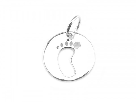 Sterling Silver Baby's Foot Charm 12.5mm
