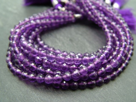 AA+ Amethyst Micro-Faceted Round Beads 4mm ~ 8'' Strand