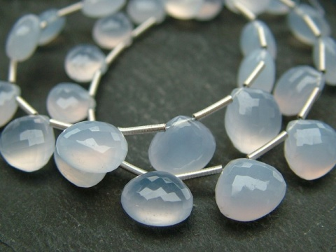 AA Chalcedony Micro-Faceted Heart Briolettes ~ Various Sizes