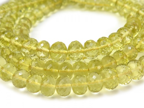 AAA Lemon Quartz Micro-Faceted Rondelles ~ Various Sizes ~ 8'' Strand