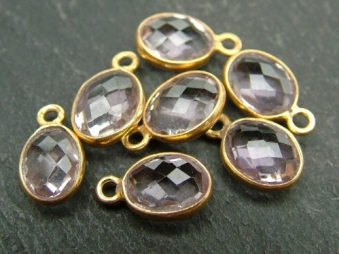 Gold Vermeil Pink Amethyst Oval Charm 12mm