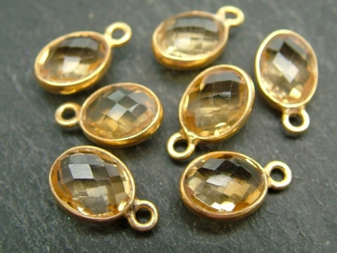Gold Vermeil Citrine Oval Charm 12mm