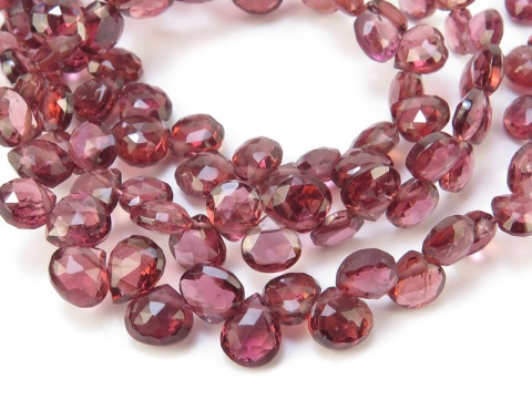 AA Rhodolite Garnet Faceted Heart Briolettes 4.5-5.5mm ~ 9'' Strand