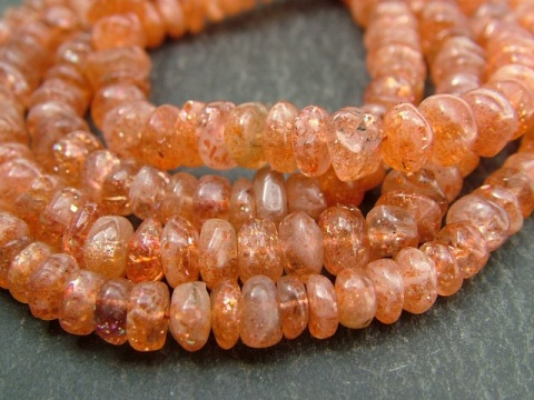 Sunstone Smooth Rondelles 7mm ~ 14'' Strand