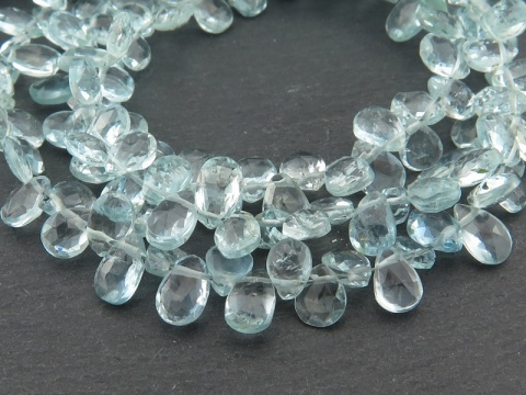 Aquamarine Faceted Pear Briolettes 5.5-6.5mm