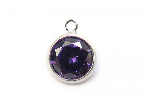 Cubic Zirconia Sterling Silver Charm ~ Purple ~ 8.5mm