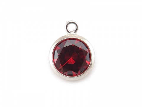 Cubic Zirconia Sterling Silver Charm ~ Red ~ 8.5mm