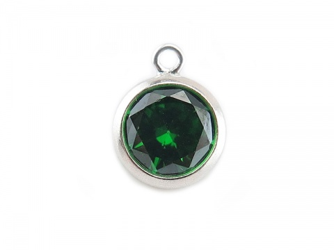 Cubic Zirconia Sterling Silver Charm ~ Green ~ 8.5mm