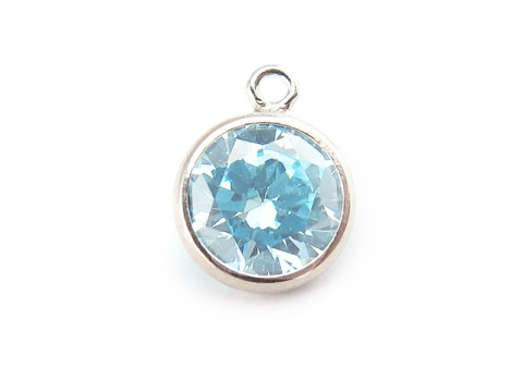 Cubic Zirconia Sterling Silver Charm ~ Light Blue ~ 8.5mm