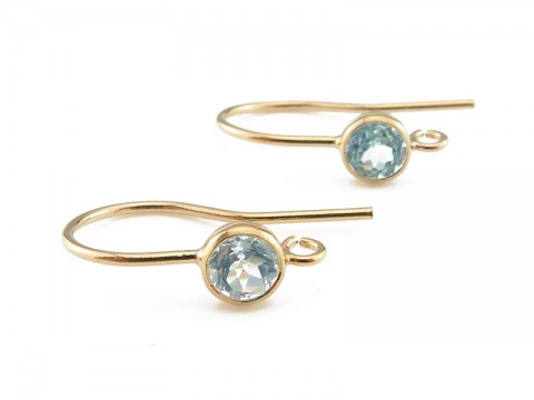 Gold Filled Sky Blue Topaz Ear Wire ~ PAIR