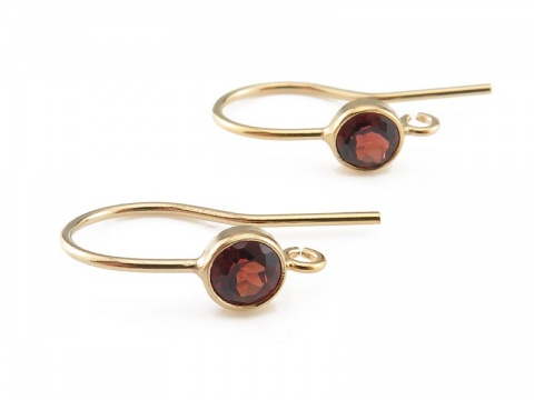 Gold Filled Garnet Ear Wire ~ PAIR