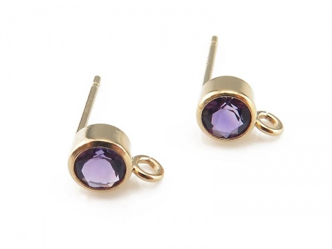Gold Filled Amethyst Ear Post ~ PAIR