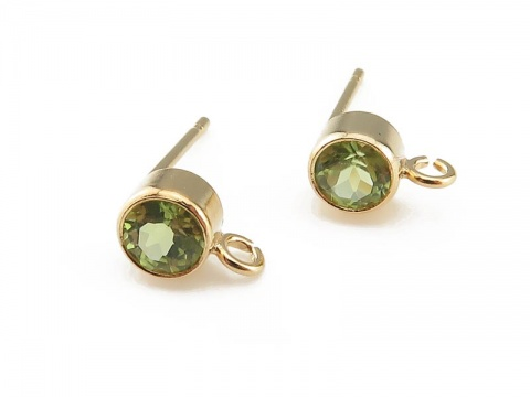 Gold Filled Peridot Ear Post ~ PAIR