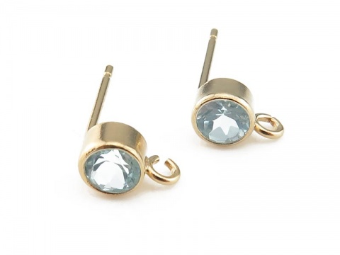 Gold Filled Sky Blue Topaz Ear Post ~ PAIR