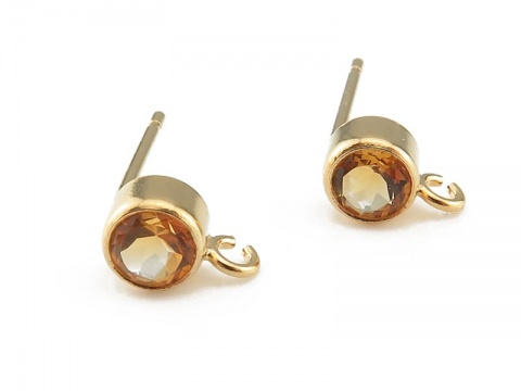 Gold Filled Citrine Ear Post ~ PAIR