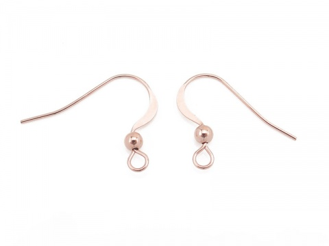 Rose Gold Filled Flat Ear Wire with Bead ~ PAIR