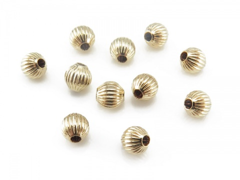Gold Filled Corrugated Bead 4mm ~ Pack of 10