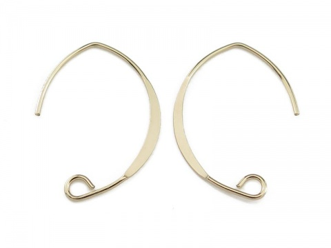 Gold Filled V Shape Flattened Ear Wire ~ PAIR