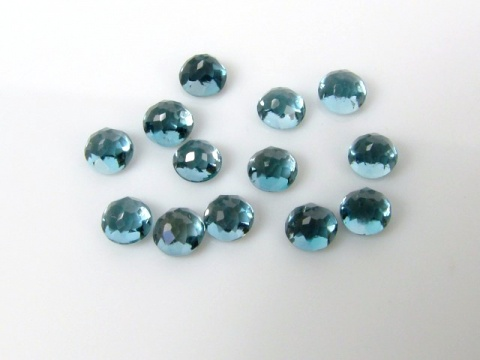 London Blue Topaz Rose Cut Round Cabochon ~ Various Sizes