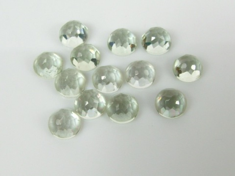 Green Amethyst Rose Cut Round Cabochon ~ Various Sizes