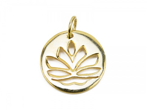 Gold Vermeil Lotus Flower Pendant 15mm