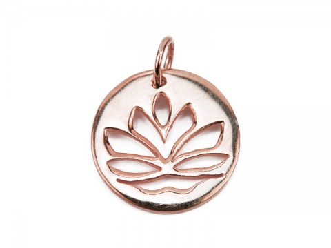Rose Gold Vermeil Lotus Flower Pendant 15mm