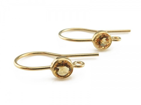 Gold Filled Citrine Ear Wire ~ PAIR