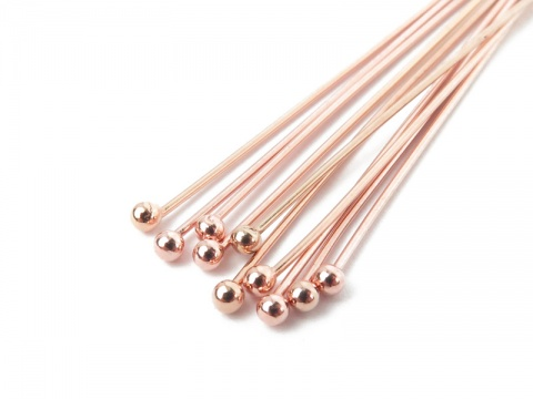 Rose Gold Filled Ball Head Pin ~ 24 gauge ~ 1'' ~ Pack of 10