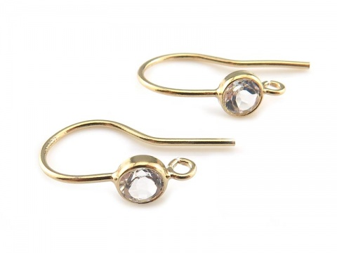 Gold Filled White Topaz Ear Wire ~ PAIR
