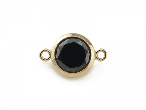 Cubic Zirconia Gold Filled Connector ~ Black ~ 10.75mm