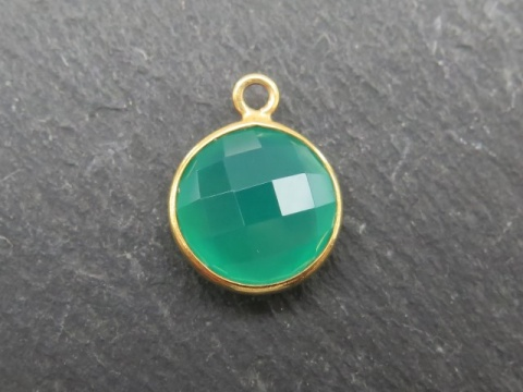 Gold Vermeil Green Onyx Round Pendant 14mm