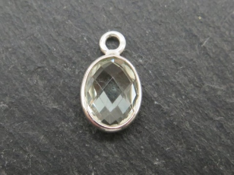 Sterling Silver Green Amethyst Oval Charm 12mm