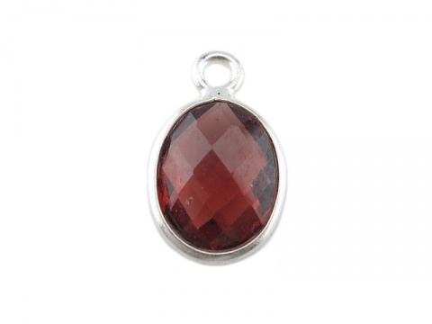 Sterling Silver Garnet Oval Charm 11-12mm