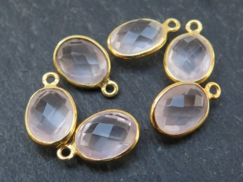 Gold Vermeil Rose Quartz Oval Charm 12mm