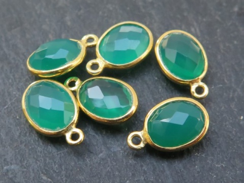 Gold Vermeil Green Onyx Oval Charm 12mm