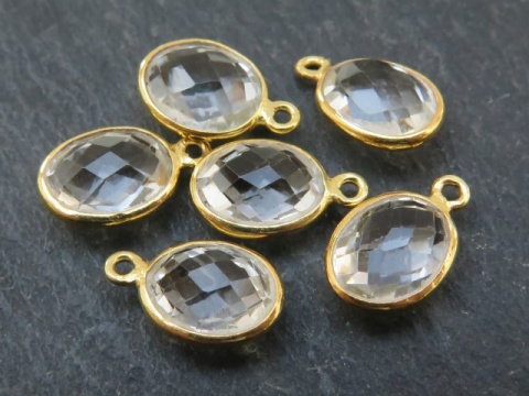 Gold Vermeil Crystal Quartz Oval Charm 12mm