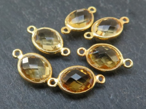 Gold Vermeil Citrine Oval Connector 15mm
