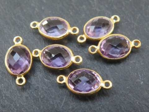 Gold Vermeil Amethyst Oval Connector 14mm