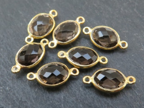 Gold Vermeil Smoky Quartz Oval Connector 14mm