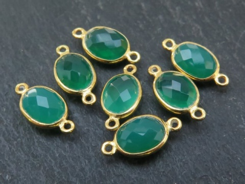 Gold Vermeil Green Onyx Oval Connector 14mm
