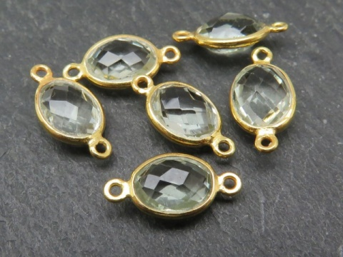 Gold Vermeil Green Amethyst Oval Connector 14mm
